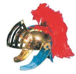 Casco de Romano V realizado en latón acabado en color oro y plumas rojas