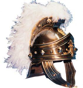 casco romano cwenturión en color oro viejo y plumas blancas