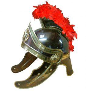 casco romano laton oro viejo plumas rojas