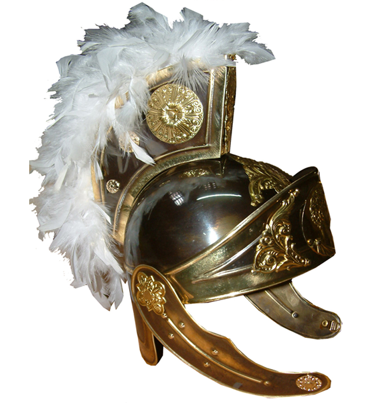 Casco para Soldados Romanos realizado en Latón de Lujo con acabado en color Oro Viejo, Oro amarillo o Plata y Plumas o cepillo de pelo.