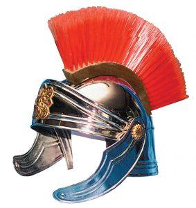 casco soldado romano color plata y cepillo