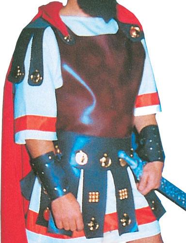 Vestuario para Soldado Romano V compuesto por Túnica, Capa y Correajes de Falda, Muñequeras y Tobilleras