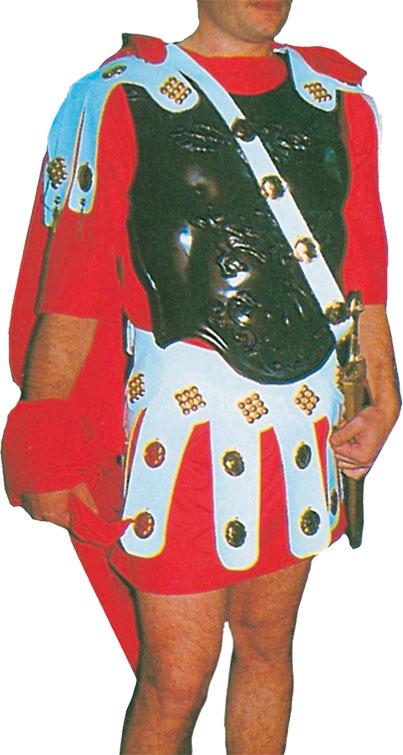 Vestuario para Soldado Romano VI compuesto por Túnica, Capa, Coraza y Correajes de Falda, Muñequeras y Tobilleras