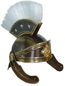 Casco Soldado Romano latón oro viejo y cepillo pelo blanco