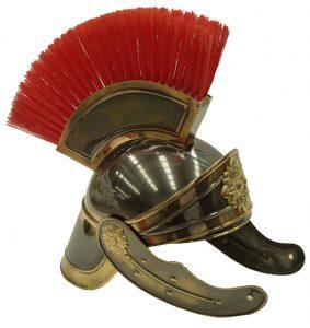Casco Romano Latón Lujo con cepillo de pelo y color Oro viejo