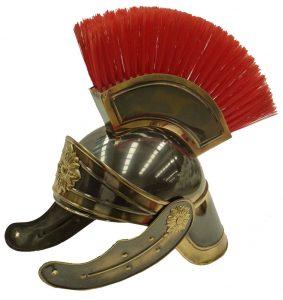 Casco Romano Latón Lujo con cepillo de pelo