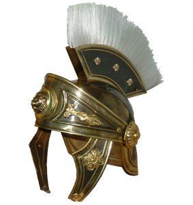 Casco Romano Lujo Latón Cabeza león
