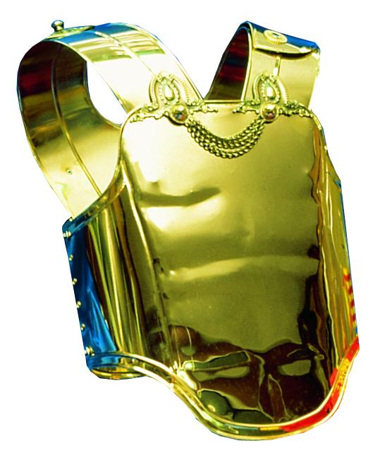 armadura coraza de romano modelo iv bañada en oro